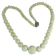Antique Graduated White Coral Necklace 16 to 5 mm Beads 17.25 Inches 47.2 Grams