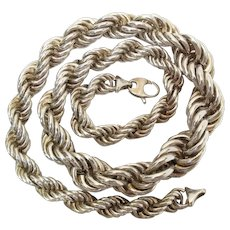 Chunky Vintage 23-Inch Sterling Silver French Rope Chain Necklace