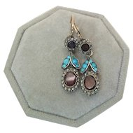 Antique Tourmaline, Turquoise & Seed Pearl Halo Dangle Earrings Lever Back