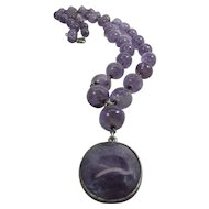 Art Deco Era 33-Inch Sterling Silver Y-Chain Natural Amethyst Pendant Necklace