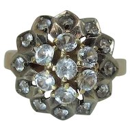 Exotic Vintage 18K Yellow Gold White Sapphire Mughal Style Cluster Ring