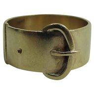 Antique Victorian 9K Gold Buckle / Garter Ring London Hallmarks 1865 Date Mark
