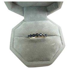 Edwardian 9K Gold Natural Blue Sapphire Ring London Import Mark 1905 Date Mark
