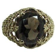 Edwardian 9K Gold Smoky Quartz Ring W/ Birmingham & 1904 Hallmarks