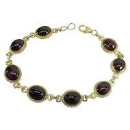 "Vintage 14K Yellow Gold 21.6 Carat Purple Red Rhodolite Garnet ""Carla"" Bracelet"