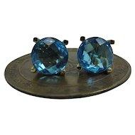 Vintage 14K Gold 2.8 Carat Checkerboard Cut Swiss Blue Topaz Stud Earrings