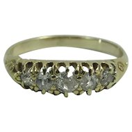 Antique Victorian 14K Gold Five- Stone Old Mine Cut Diamond Ring .53 Carats