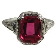 Vintage Art Deco Era 14K White Gold Created 2.34 Carat Emerald Cut Ruby Ring