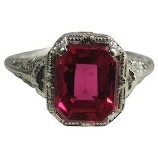 Vintage Art Deco Era 14K White Gold Created 2.34 Carat Emerald Cut Ruby Ring