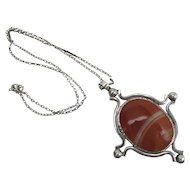 Heavy 25 Inch Long Mid Century Sterling Silver & Banded Agate Pendant Necklace