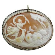 Antique 14K Gold Cameo Pendant Brooch Rare Salacia & Chariot Pulled By Dolphins