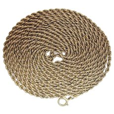 Antique Victorian 59-Inch Long 10K Gold Rope Style Guard Chain With Spring Ring