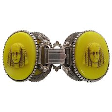 1920's Art Deco Era Neiger Style Bracelet With 1 1/2-Inch Czech Glass Pharaohs