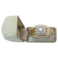 Vintage 14K Yellow Gold .36 Carat Mens / Unisex Diamond Ring Size 9.25 6.1 Grams
