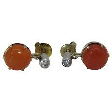 Vintage 14K White & Yellow Gold Carnelian & Diamond Post Earrings