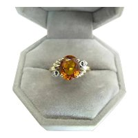 Vintage 14K White & Yellow Gold Citrine & Diamond Ring