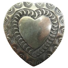Vintage Navajo Stamped Heart Pin / Brooch With RJ / Robert Johnson Maker's Mark