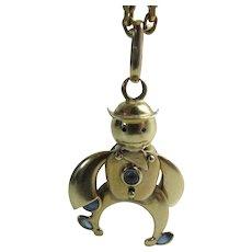 Vintage Italian 9K Yellow Gold Blue Sapphire Mechanical Figural Charm / Pendant