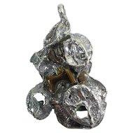 Large Vintage Israeli Sterling Silver Eilat Stone & Tiger Eye Modernist Pendant