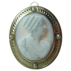 Antique 10K Gold Conch Shell Cameo Pendant Brooch W/ Seed Pearls & Folding Bail