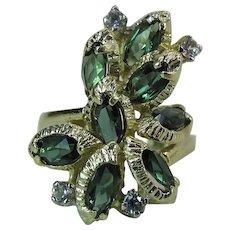 Vintage 14K Gold Blue Green Color Change Tourmaline & Diamond Cocktail Ring