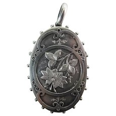 Fine Antique Victorian Sterling Silver Locket Pendant 2 3/8-In. 17.4 Grams