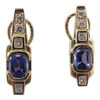 Fine Natural Cushion Cut Tanzanite & Diamond Omega Earrings With Appraisal