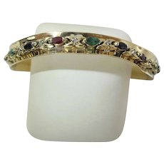 Mid-Century Modernist 14K Gold Ruby Emerald Sapphire & Diamond Cuff Bracelet