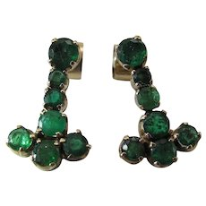 Lovely Pair Of  Mid-Century 14K Yellow Gold Natural Emerald Dangle Post Earrings