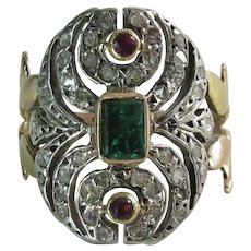 Opulent Vintage 14K Gold Natural Emerald Ruby And Diamond Cocktail Ring