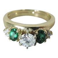 14K Gold .50 Carat Diamond Solitaire Ring W Green Spinel & Diamond Enhancer Ring