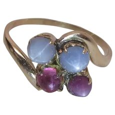 Charming Vintage 14K Gold Ring With Two Pink & Two Blue One Carat Star Sapphires