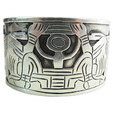 Great Circa 1940 Taxco Mexican 980 Silver Shadowbox Style Cuff Bracelet 92.3 Grams