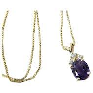Vintage 14K Gold 2 Carat Amethyst & Diamond Box Chain Pendant Necklace