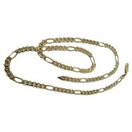 Vintage Silmar 14K Gold 4.7 MM Figaro Chain Necklace 18.2 Grams 18 5/8-Inches