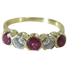 Luscious Vintage 18K Gold Natural Ruby & Diamond 5 Stone Ring 1.2 Carats Total