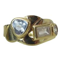 Vintage 18K Yellow Gold Mixed Gemstone / Mixed Cut Modernist Ring