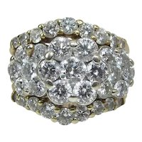 14K Gold Triple Halo Diamond Cluster Ring W/ Stacked Enhancer Rings 2.6 Carats