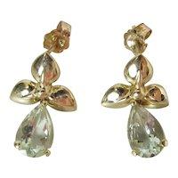 Vintage 14K Yellow Gold Natural 1.3 Carat Each Aquamarine Dangle Post Earrings