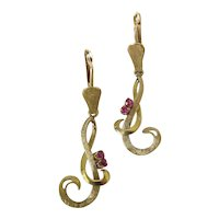 Charming 18K Gold Ruby G Or Treble Clef Leverback Dangle Earrings 1.75-Inches
