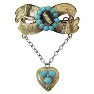 Antique Victorian 14K Gold Sweetheart Brooch With Heart Dangle & Turquoise