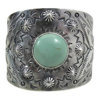Large Nicely Stamped Vintage Navajo Cuff Bracelet With Dry Creek Turquoise