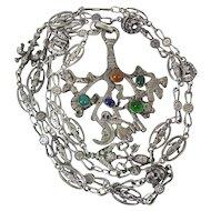 Rare Antique Coppini Jeweled Cimaruta Pendant Necklace W/ Wonderful 37-In Chain