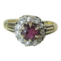 Antique Victorian 14K Gold .42 Carat Natural Ruby & Old Mine Cut Diamond Ring
