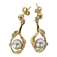 Maui Divers 14K Gold, AA Blue Akoya Pearl & Diamond Dangle Earrings In Original Box