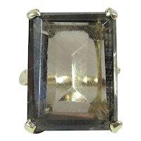 Vintage Hubertus Von Skal 14K Yellow Gold 20 Carat Smoky Topaz Cocktail Ring