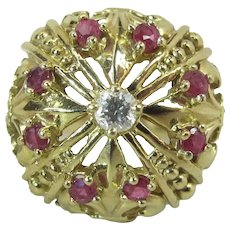 Opulent 18K Yellow Gold Ruby & Diamond Crown- / Coronet-Form Cocktail Ring