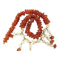 Vintage 14K Gold Carnelian Nugget & Freshwater Pearl Necklace