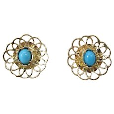Vintage 14K Yellow Gold Persian Turquoise Post Earrings