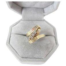 Elegant Vintage 14K Yellow Gold Three Diamond Ring .11 Carats 3.9 Grams